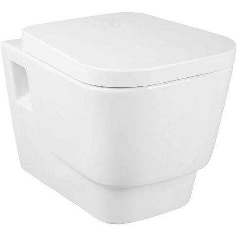 White Ceramic Wall Hung Toilet and Soft Close Seat Bathroom WC