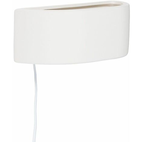 White Ceramic Wall Lamp + Plug, Cable & Switch + 4W LED Ses E14 Frosted Candle Warm White Bulb