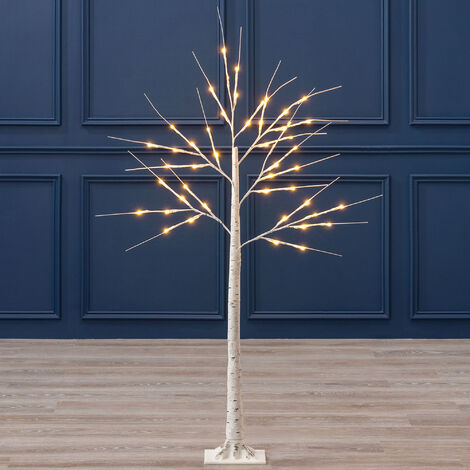 White Christmas Birch Tree with LED Lights - 4ft
