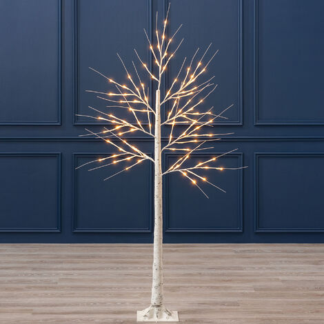 White Christmas Birch Tree with LED Lights