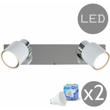 White & Chrome 2 Way Adjustable Wall Spotlight + Plug, Cable & Switch + GU10 LED Bulbs - Cool White