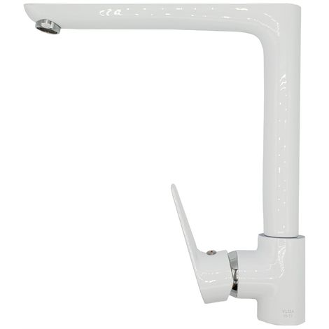"""main image of """"White/Chrome Straight Angled Spout Kitchen Sink Standing Mixer Tap Single Lever"""""""