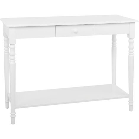White Console Table with Shelf Bedroom Hallway 1-Drawer Traditional Modern Tobago