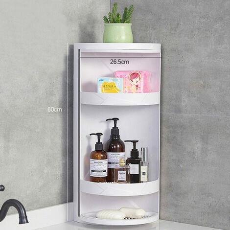 White Corner Storage Rack Bathroom Shower Shelf Organiser Basket Kitchen Tidy Rotating