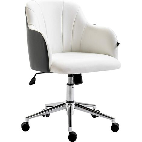 White & Dark Grey PU Leather Desk Chair