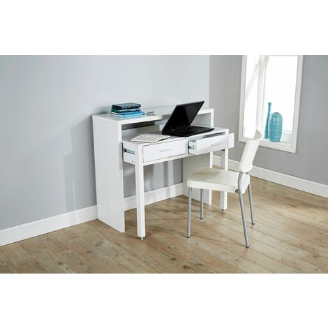 """main image of """"White Desk Extending Console Table Home Office Computer Storage Table Regis"""""""