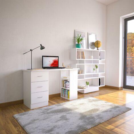 White Desk with Drawers & Storage for Home Office - Piranha Furniture Guppy - White Woodgrain