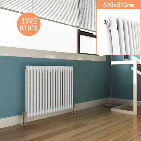White Double Column 600 x 812 mm Traditional Horizontal Cast Iron Style Radiator