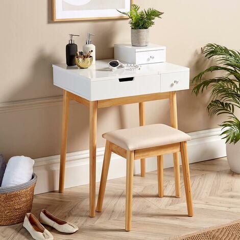 "main image of ""White Dressing Table 2 Drawer Vanity Set Hinged Mirror Makeup Desk Padded Stool"""