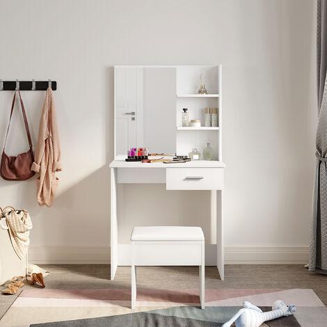 White Dressing Table Desk With Drawer Shelves Make up Table Stool Vanity Set