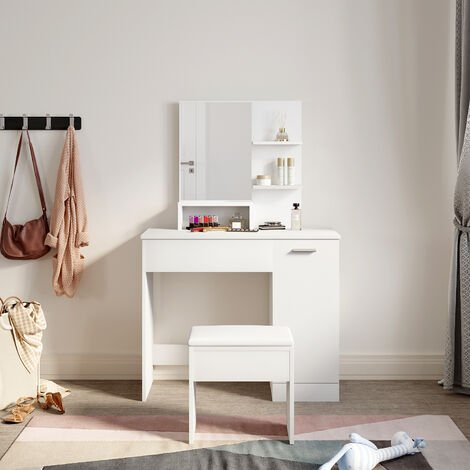 White Dressing Table Make up Desk Bedroom Stool Vanity Set With Drawers & Mirror