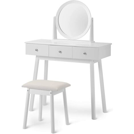 White Dressing Table Set with Mirror and Stool Girls Makeup Desk Bedroom 3 Drawers (White)