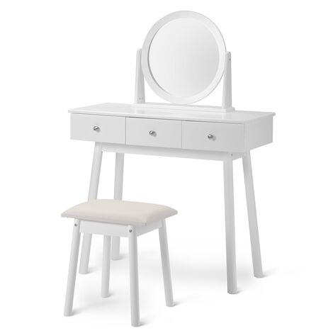 """main image of """"White Dressing Table Set with Mirror and Stool Girls Makeup Desk Dresser with 3 Drawers Bedroom"""""""