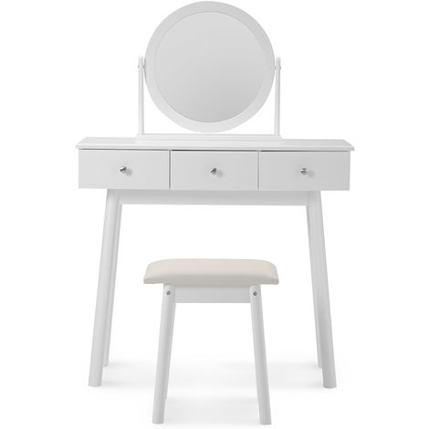White Dressing Table Set with Mirror and Stool Girls Makeup Desk Dresser with 3 Drawers Bedroom B2B02575