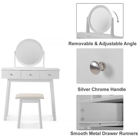 White Dressing Table Set with Mirror and Stool Makeup Dresser for Girls with 3 Drawer Bedroom