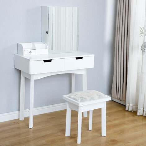 White dressing table, stool + storage cabinet with mirror for jewelry + 2 sliding drawers-80x40x128cm