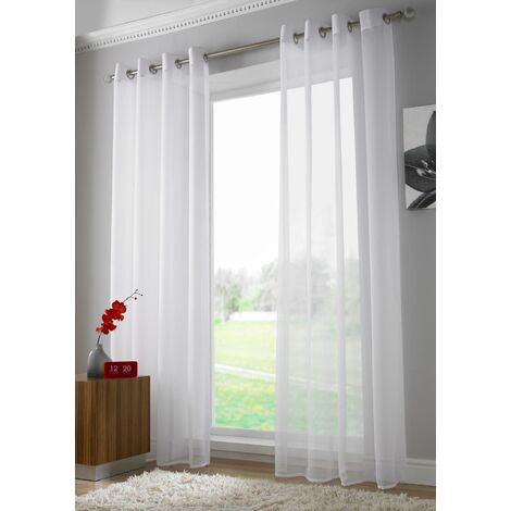 """White Eyelet Ring Top Voile Curtain Panel 90"""" Drop"""