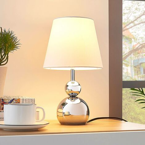 White fabric table lamp Andor with chrome base
