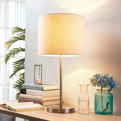 White fabric table lamp Parsa with cable switch