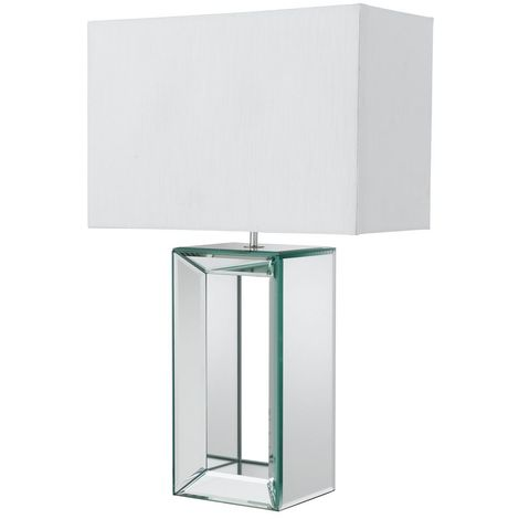 White Faux Silk Shade Tall Mirror Table Lamp with Hollow Centre
