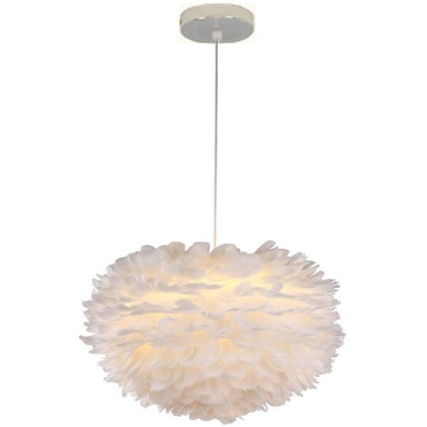 White Feather Ceiling 30 cm Pendant Light Shade Modern Chandelier E27 Lampshade Floor Lamp for Living Room Dining Room Bedroom