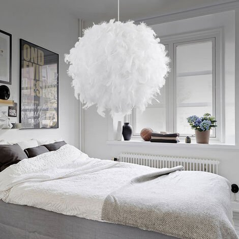"""main image of """"White Feather Ceiling Shade Pendant Non-Electric Shade Shade Reducing Ring Pendant For Living Room Dining Room 30cm"""""""