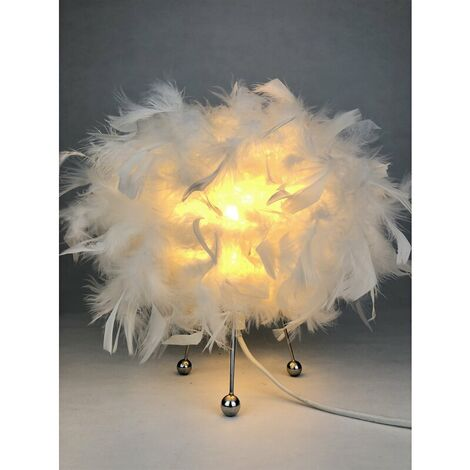 White Feathered Bedside Table Lamp