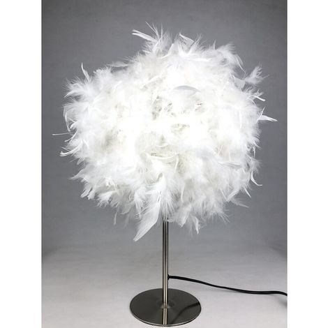 White Feathered Table Lamp
