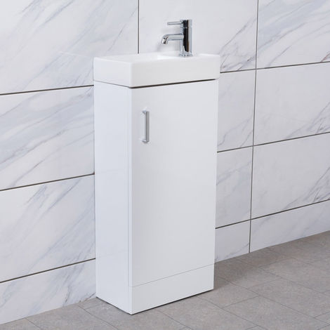 White Floor Standing Cloakroom Vanity Basin Unit Bathroom Furniture 400mm