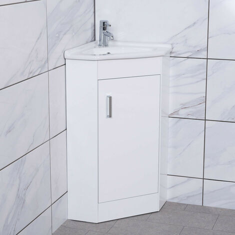 White Floor Standing Corner Cloakroom Vanity Basin Unit Bathroom Furniture
