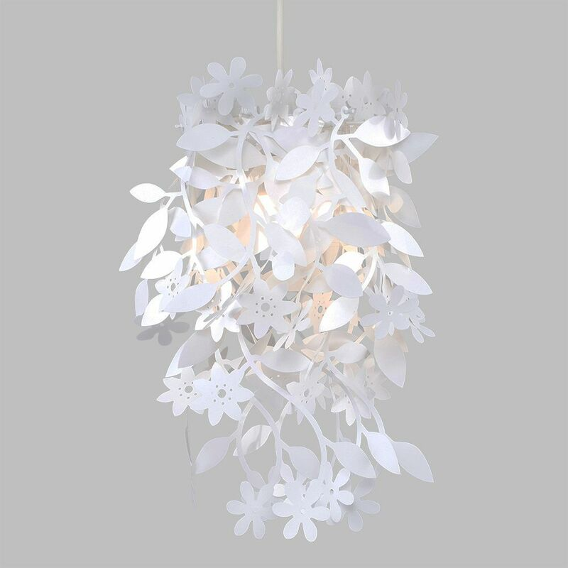 Beautiful White 6 Arm Chandelier, Ceiling Pendant, with Roses and Leaves