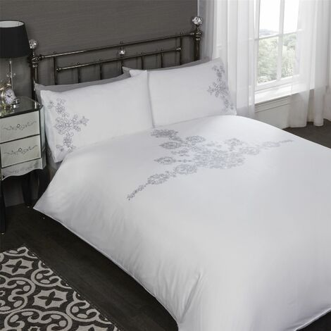 White Floral Embroidered Double Duvet Cover and Pillowcase Bedding Set