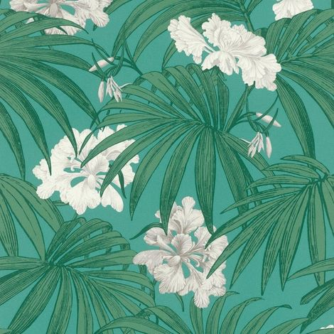 White Flower Wallpaper Floral Motif Green Leaf Rasch Paste The Wall