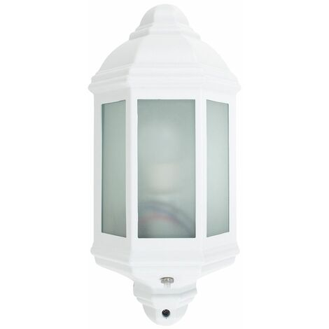 White & Frosted Glass Panel Outdoor Wall Lantern Ip44 Light + Dawn To Dusk Sensor