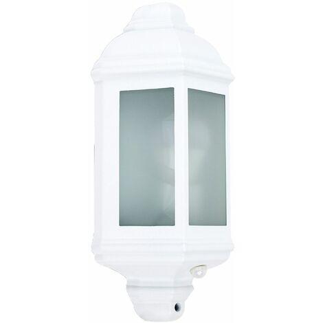 White & Frosted Glass Panel Outdoor Wall Lantern Ip44 Light + Pir Motion Sensor
