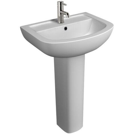 White Full Pedestal Basin 550 mm - 1 Tap Hole