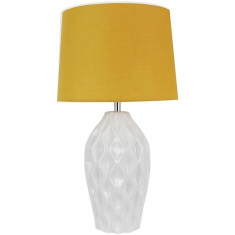 Textured White Gloss Glaze Ceramic Bedside Table Light with Ochre Textured Cotton Fabric Shade