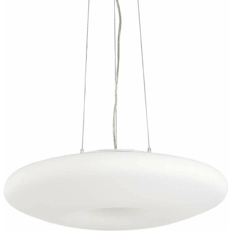 01-ideal Lux - White GLORY Pendelleuchte 3 Glühbirnen Höhe 80 cm
