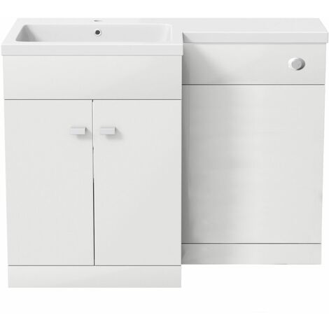 White Gloss 1100mm Wide Combination Vanity Unit Basin L Shape LH Resin