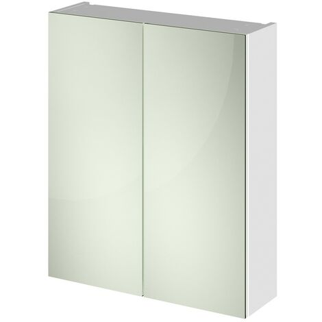 White Gloss 600mm Mirror Cabinet 50/50 Split (180mm Deep)