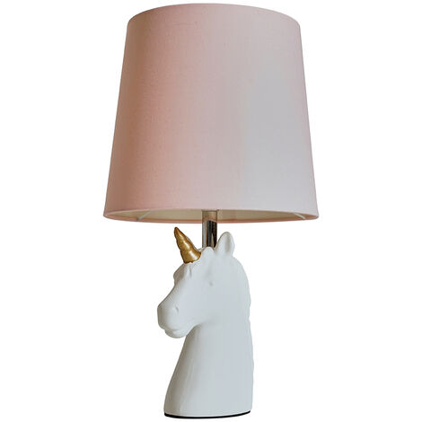 White & Gold Ceramic Unicorn Table Lamp + Dusty Pink Light Shade