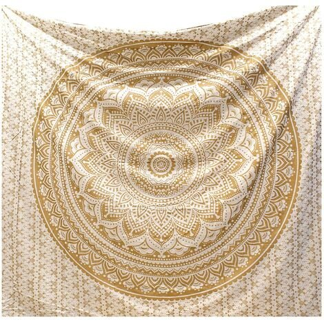 """main image of """"White Golden Mandala Ombre Indian Wall Hangings / Golden Tapestry Mandala Hippie / Psychedelic Bohemian Curtains Orientale Decorations / Golden Tapestry Queen Bedspread 150x200cms"""""""