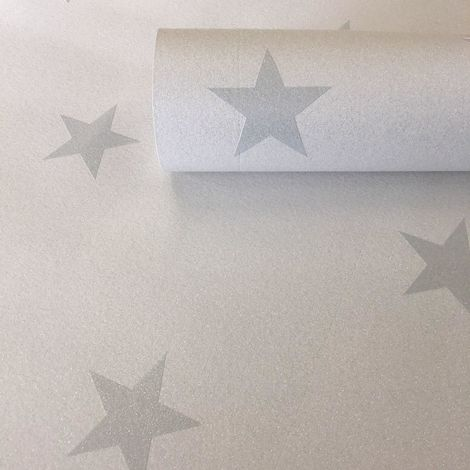 White Grey Glitter Star Wallpaper Childrens Room Kids Vinyl Textured AS Creation