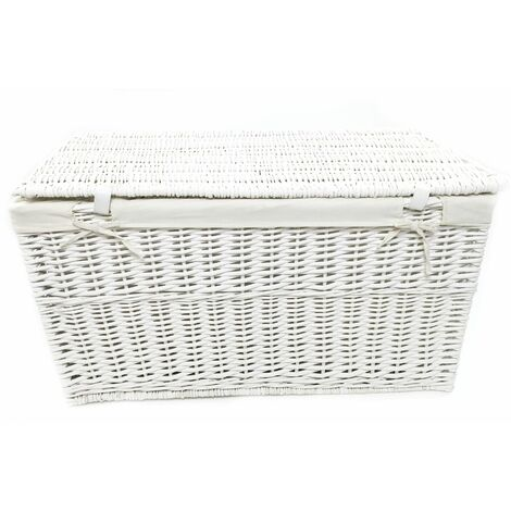White Grey Wicker Baby Nursery Toy Blanket Box