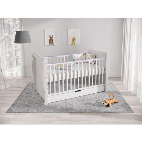 White Harry Premium Range Convertible Cot Bed 140 x 70cm