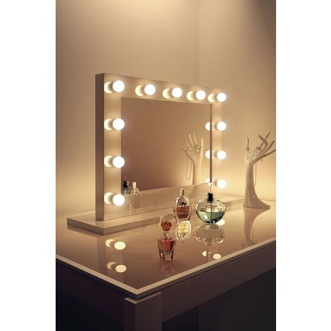 White High Gloss Hollywood Makeup Mirror with Warm Whtie LED k600WW