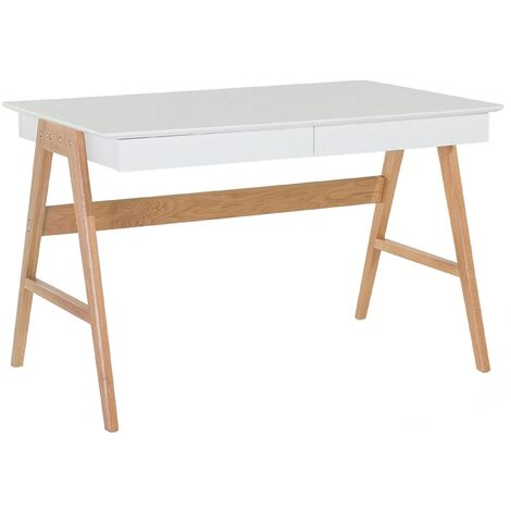 White Home Office Desk Multi-use Workstation with Two Drawers Sheslay