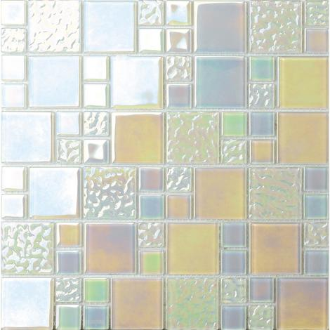 White Iridescent Modular Mix Mosaic Tiles Sheet MT0173