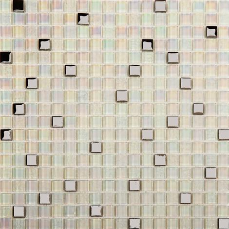 White Iridescent Textured and Smooth Glass Mosaic Tiles Sheet MT0143