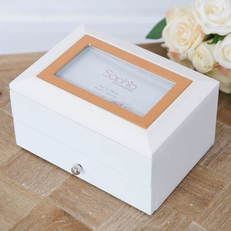 White Jewellery Box with Metal Inlay & Drawer